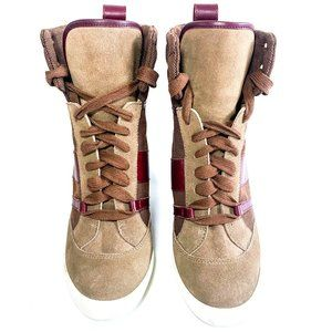 Chloe Lace Up High Top Wedge Sneakers
